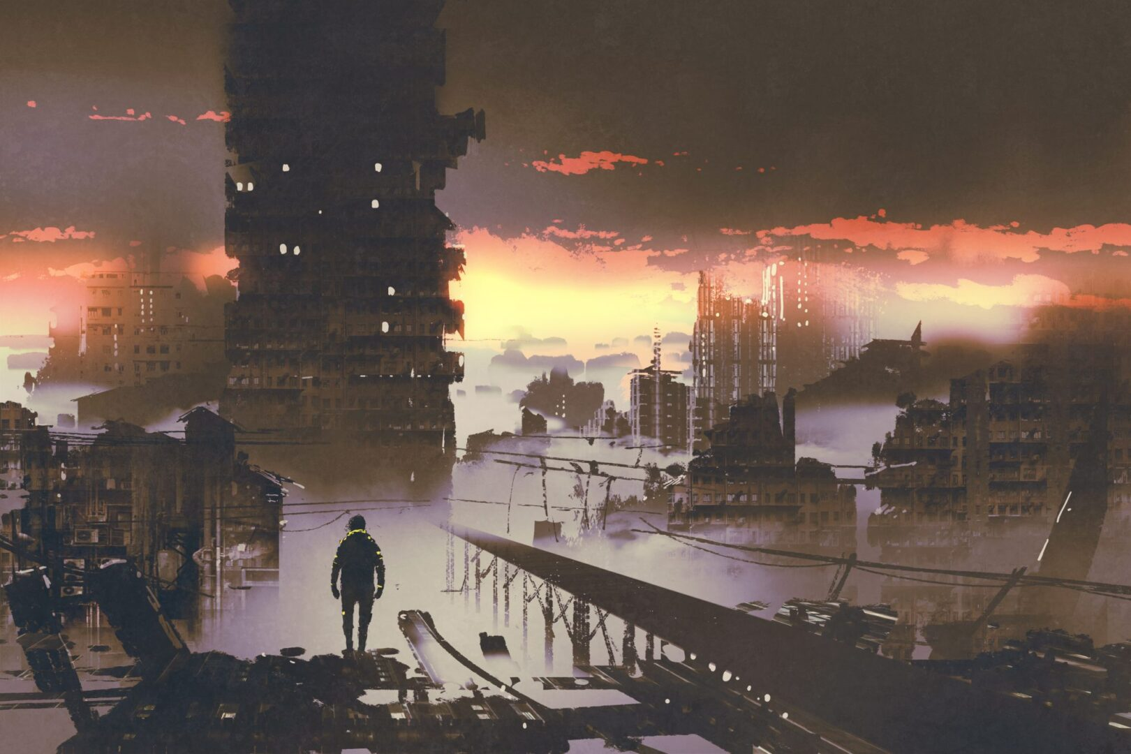 Shows a post apocalyptic world with buildings in ruin and one lone visitor standing on a bridge surveying it all.