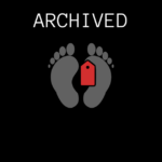 Archived banner showing cartoon feet with a toe tag on a black background