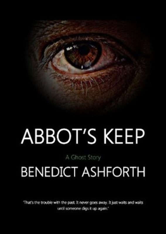Abbot's Keep BOOK COVER showing a large human eye on a black background above text