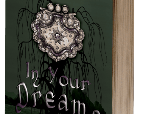 IN YOUR DREAMS book cover showing a stylised tree in a river adorned with a gigantic metal buckle or seal