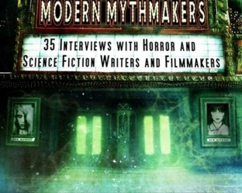 modern-mythmakers-paperback-book-cover- shows a stylized art deco cinema building set up as if to show a film but, showing books instead.