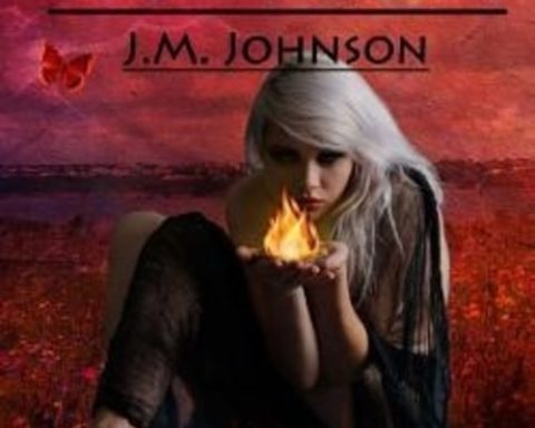 Rubicon BOOK COVER shows a young blonde girl sitting in a peculiar position on the grass. Her hands are placed together and she holds a flame in her bare hands. The grass and sky are coloured red.